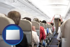 colorado airline passengers in a commercial jetliner