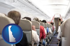 delaware map icon and airline passengers in a commercial jetliner