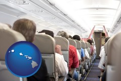 hawaii map icon and airline passengers in a commercial jetliner