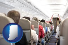 indiana map icon and airline passengers in a commercial jetliner