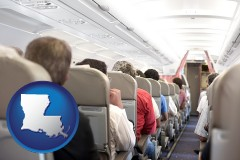 louisiana map icon and airline passengers in a commercial jetliner