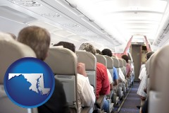 maryland map icon and airline passengers in a commercial jetliner