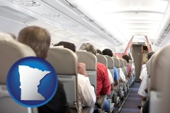 minnesota map icon and airline passengers in a commercial jetliner