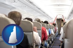 new-hampshire airline passengers in a commercial jetliner