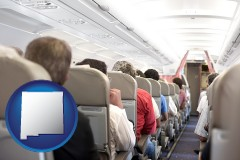 new-mexico map icon and airline passengers in a commercial jetliner