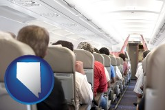 nevada airline passengers in a commercial jetliner