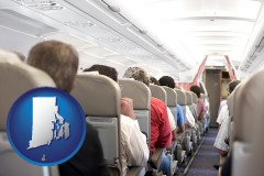 rhode-island map icon and airline passengers in a commercial jetliner