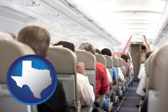 texas map icon and airline passengers in a commercial jetliner