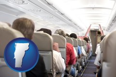 vermont map icon and airline passengers in a commercial jetliner