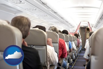 airline passengers in a commercial jetliner - with Kentucky icon