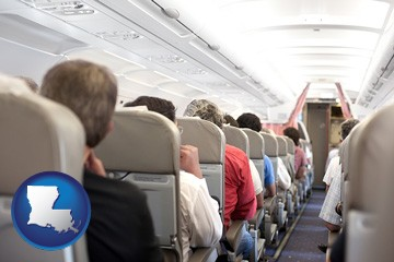 airline passengers in a commercial jetliner - with Louisiana icon