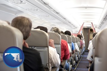 airline passengers in a commercial jetliner - with Maryland icon