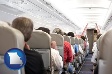 airline passengers in a commercial jetliner - with Missouri icon