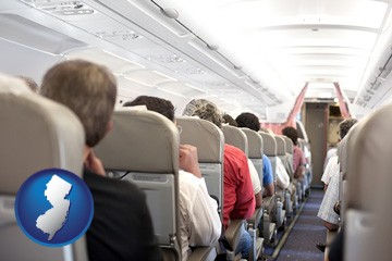 airline passengers in a commercial jetliner - with New Jersey icon