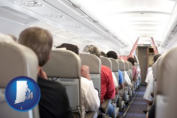 airline passengers in a commercial jetliner - with Rhode Island icon