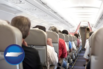 airline passengers in a commercial jetliner - with Tennessee icon
