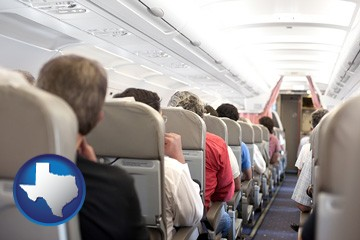 airline passengers in a commercial jetliner - with Texas icon