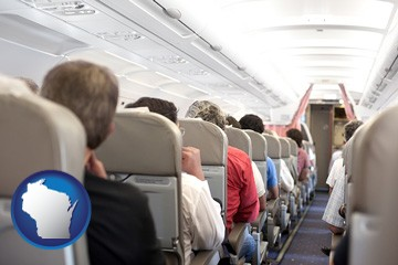 airline passengers in a commercial jetliner - with Wisconsin icon
