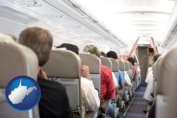 airline passengers in a commercial jetliner - with West Virginia icon