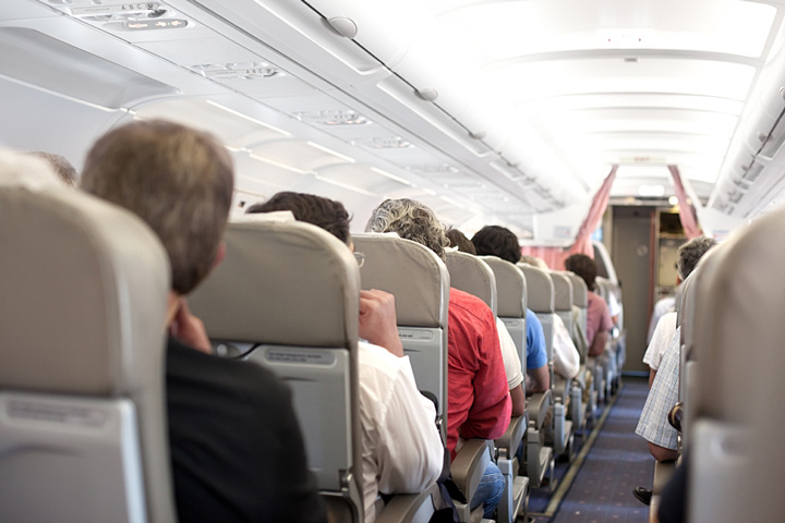 airline passengers in a commercial jetliner