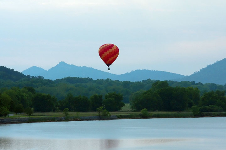 flying over the Arkansas River in a hot air balloon