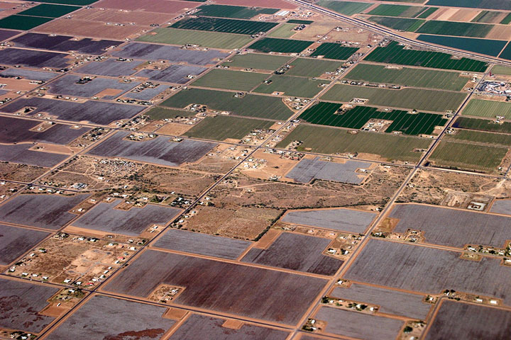 aerial view of farmland in New Mexico