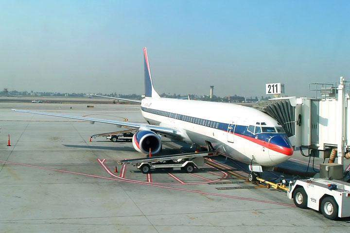 airliner at boarding gate, JFK airport, New York City